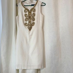 LN Ellen Tracy cotton dress with gold beading